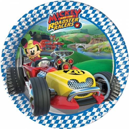 8 Petites Assiettes Mickey et Donald Racing