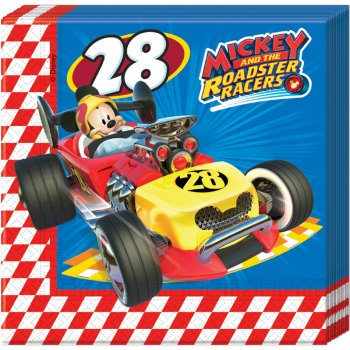 20 Serviettes Mickey et Donald Racing