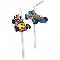Contient : 1 x 6 Pailles Médaillon Mickey et Donald Racing