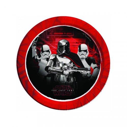 8 Assiettes Star Wars Last Jedi Rouge métallique