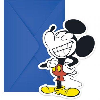 6 Invitations Mickey Super Cool