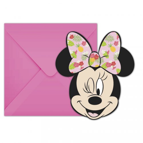 6 Invitations Minnie Tropical