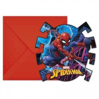 6 Invitations Spiderman Team