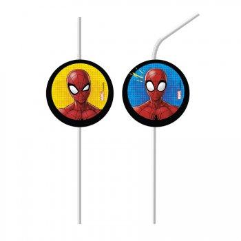 6 Pailles Médaillon Spiderman Team