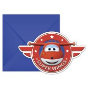 6 Invitations Super Wings
