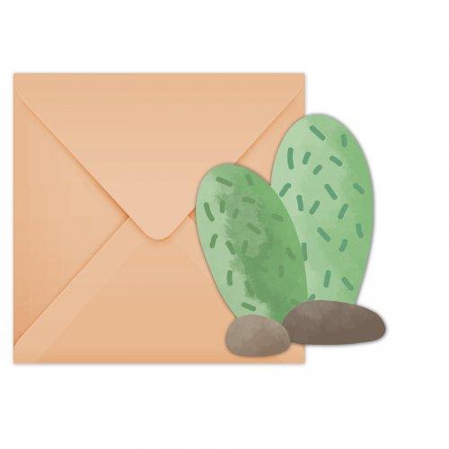 6 Invitations Cactus Lama Birthday