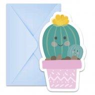 6 Invitations Cactus Kawaïï