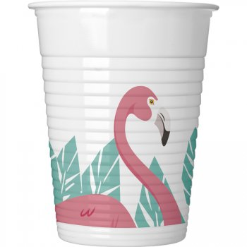 8 Gobelets Flamingo Birthday