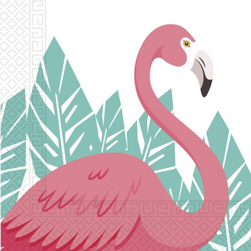 20 Serviettes Flamingo Birthday