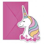6 Invitations Licorne Magic Party