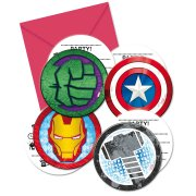 6 Invitations Médaillons Avengers