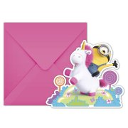 6 Invitations Minions Licorne