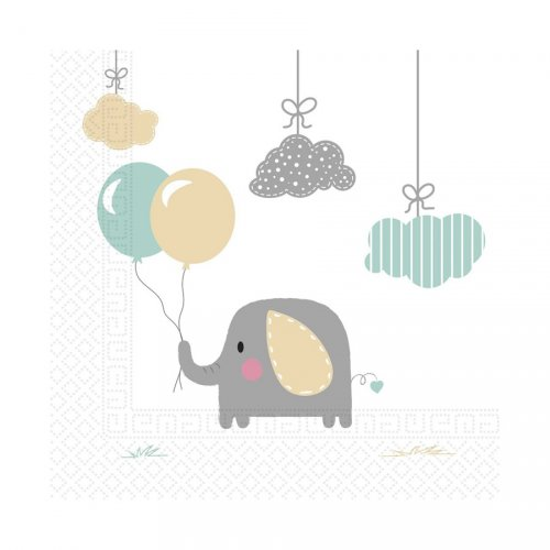 20 Serviettes Elephant Baby