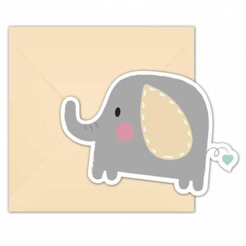 6 Invitations Éléphant Baby