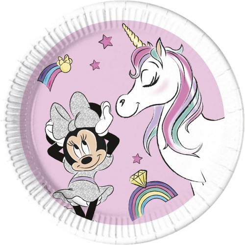 8 Assiettes Minnie Licorne - Compostable