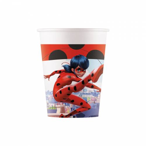 8 Gobelets Miraculous Lady Bug - Compostable