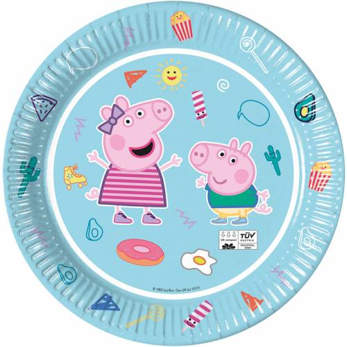 8 Assiettes Peppa Pig - Compostable