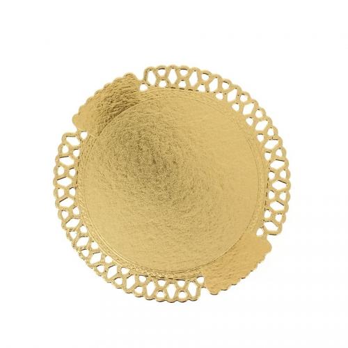 2 Ronds Dentelle Carton Support Gâteau Or (22 cm)