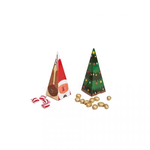 2 Boîtes Cadeaux Cônes - Sapin + Figurines Noël
