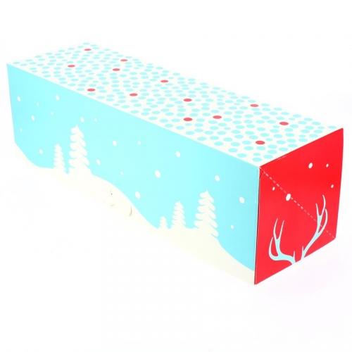 Boîte à Bûche Noël Neige - 35 cm
