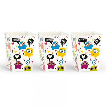 6 Petits Pots à Popcorn Monster Colors (12,5 cm)