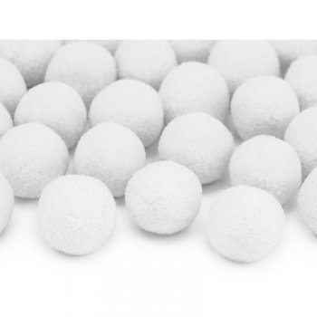 20 Mini Boules Pompons (2 cm) - Blanc