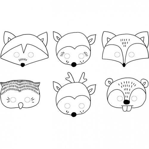 6 Masques à Colorier Animaux Bois Joli