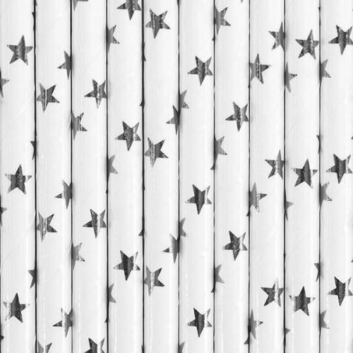 10 Pailles Papier Etoiles Argent