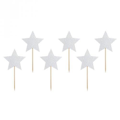 6 Pics Etoiles Glitter Argent (11 cm)