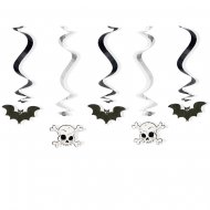 5 Guirlandes Spirales Crânes et Chauve-souris