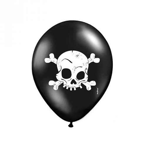 6 Ballons Têtes de Mort Pirate Epouvante