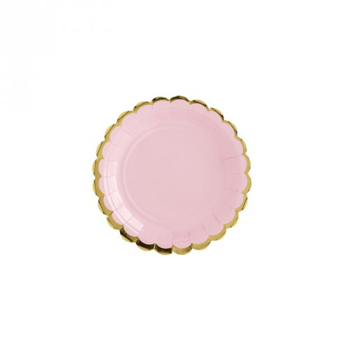 6 Petites Assiettes Baby Rose/Or