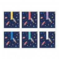 6 Pochettes Cadeaux Space Party (16 cm) - Papier