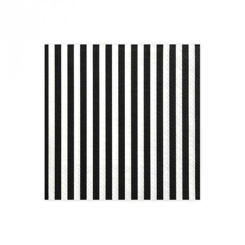20 Serviettes Rayées Noir/Blanc - Pirate Le Rouge
