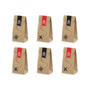 6 Pochettes Cadeaux Pirate Le Rouge (18 cm) - Kraft