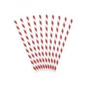 10 Pailles Papier Rayées Rouge/Blanc - Pirate Le Rouge