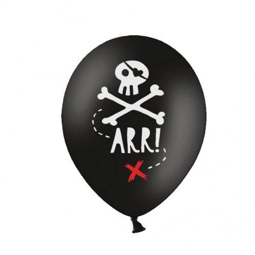 6 Ballons Pirate Noir