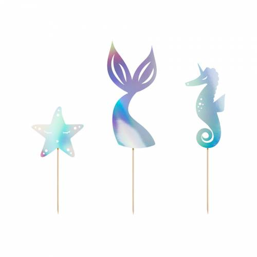 3 Cake Toppers Sirène - Iridescent