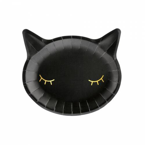 6 Assiettes - Tête de Chat Noir