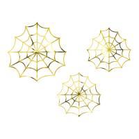 Contient : 1 x 3 Décorations - Toile d'Araignée Or
