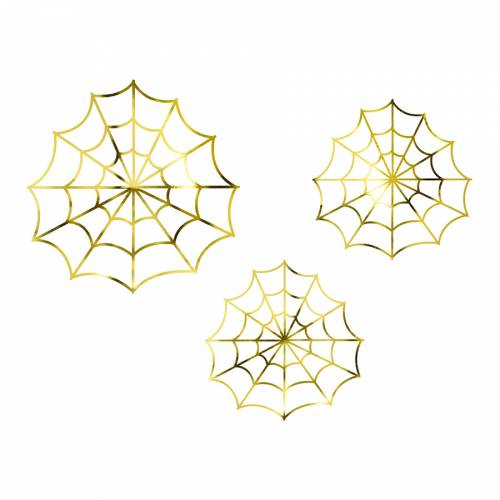 3 Décorations - Toile d Araignée Or