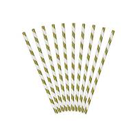 Contient : 1 x 10 Pailles Papier Rayées Gold