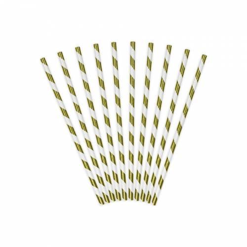 10 Pailles Papier Rayées Gold