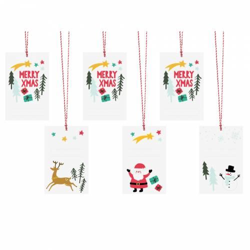 6 Étiquettes - Cadeaux de Noël