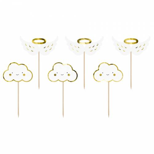 6 Cake Toppers - Nuages et Anges (12,5 cm)