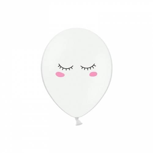 6 Ballons Smiley Kawaii - Blanc