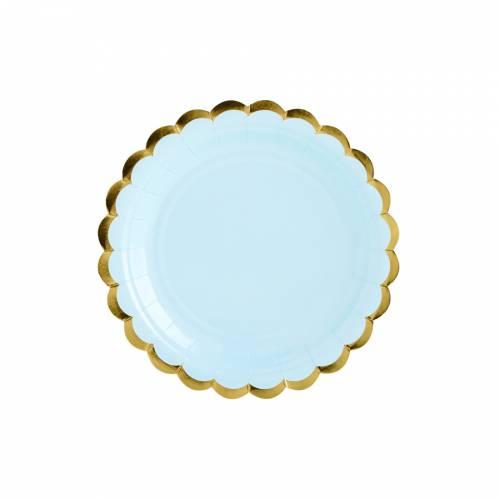6 Petites Assiettes - Baby Bleu/Or