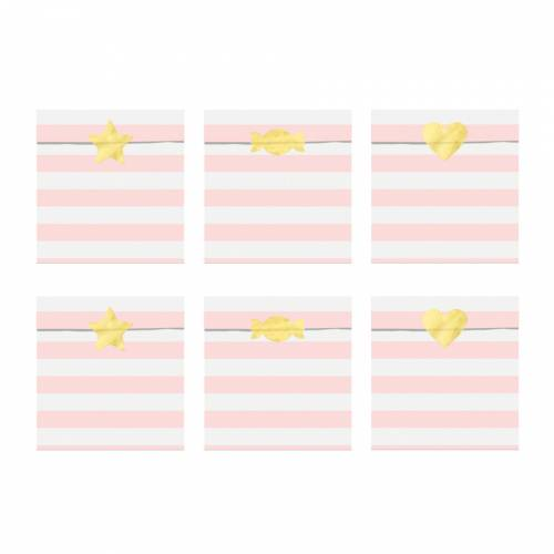 6 Pochettes Cadeaux Baby Rose/Or