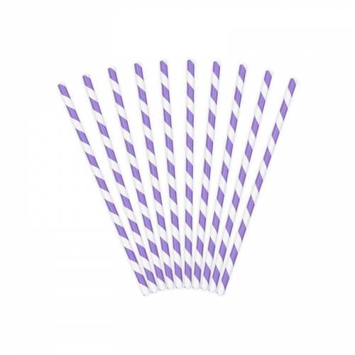 10 Pailles Papier Rayées Violet/Blanc - Océan Iridescent