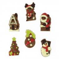 6 Figurines de Noël 2D en chocolat